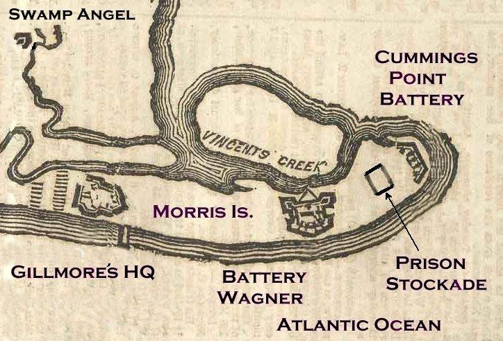MAP OF MORRIS ISLAND SHOWING CONFEDERATE PRISON PEN